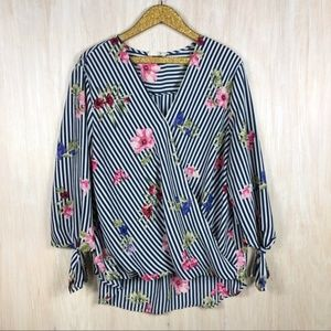 Anthropologie Everleigh Faux Wrap Floral Blouse